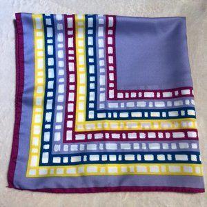 Vintage Silk Twill Square Scarf - Bright Purple, Blue, Yellow